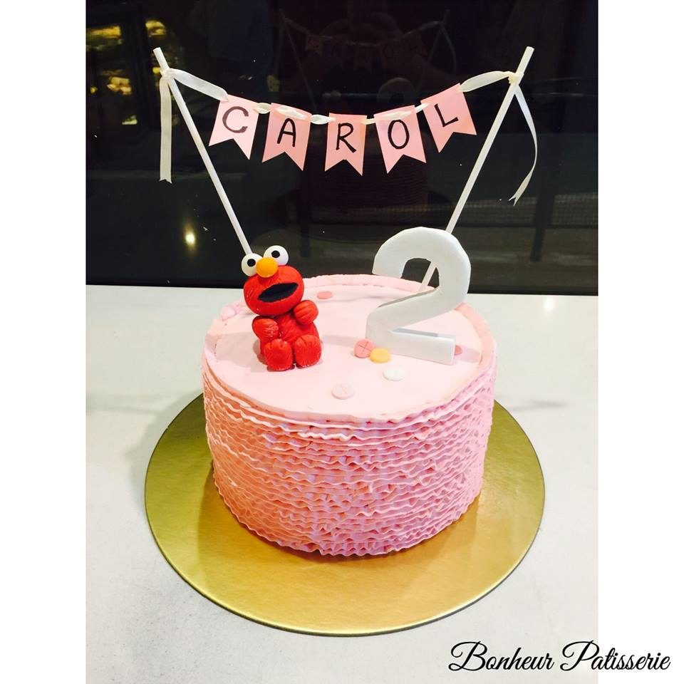 Pink ruffled elmo cake by Bonheur Pattiserie - Recommend.sg