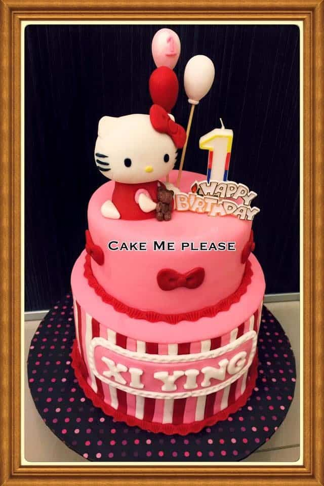 A tall, pink coloured round cake with a Hello Kitty fondant figure makes an excellent centrepiece for your daughter's first birthday. Made by: Cake Me Please.Source
