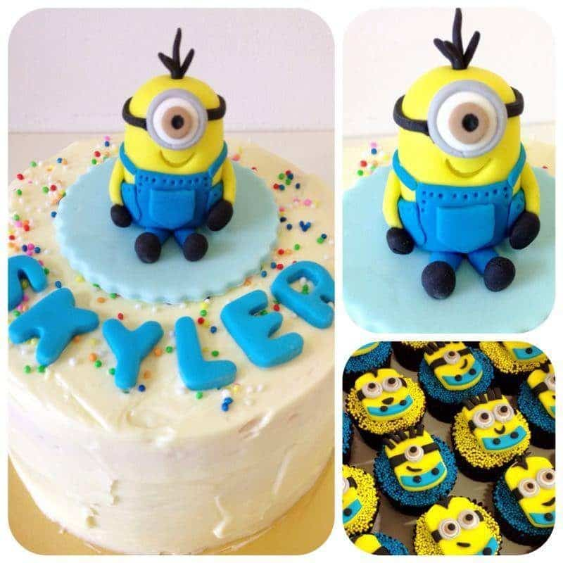 A 3D fondant Minion figurine for the cake, and fondant cutouts for the cupcakes.Source:Little House of Dreams.Source