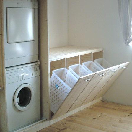 Create space for different laundry baskets to separate clothes