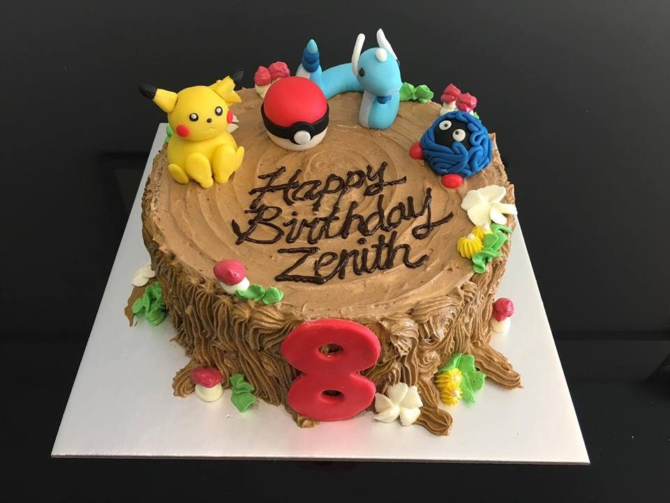 A round Pokemon cake with buttercream frosting with edible Pokemon figures made from scratch by the baker. Custom cake by Monice Bakes.Source