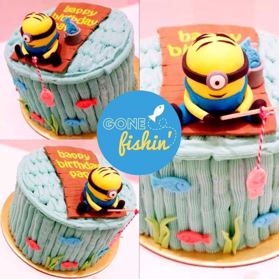 A fishing Minion character is very suitable for a birthday boy who's always gone fishing.Made by:Little House of Dreams.Source