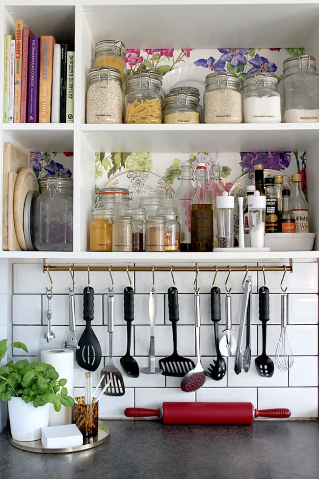 simple and easy. hack your shower rail for one of the most practical IKEA kitchen hacks.