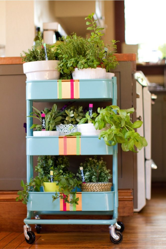 a RASKOG trolley can be used to place your plants and herbs too