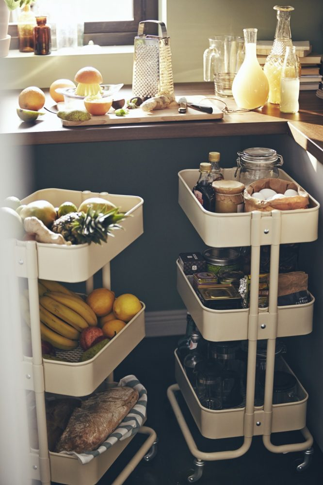 One of the easiest ikea kitchen hacks around, turn your RASKOG cart into a storage for cooking condiments
