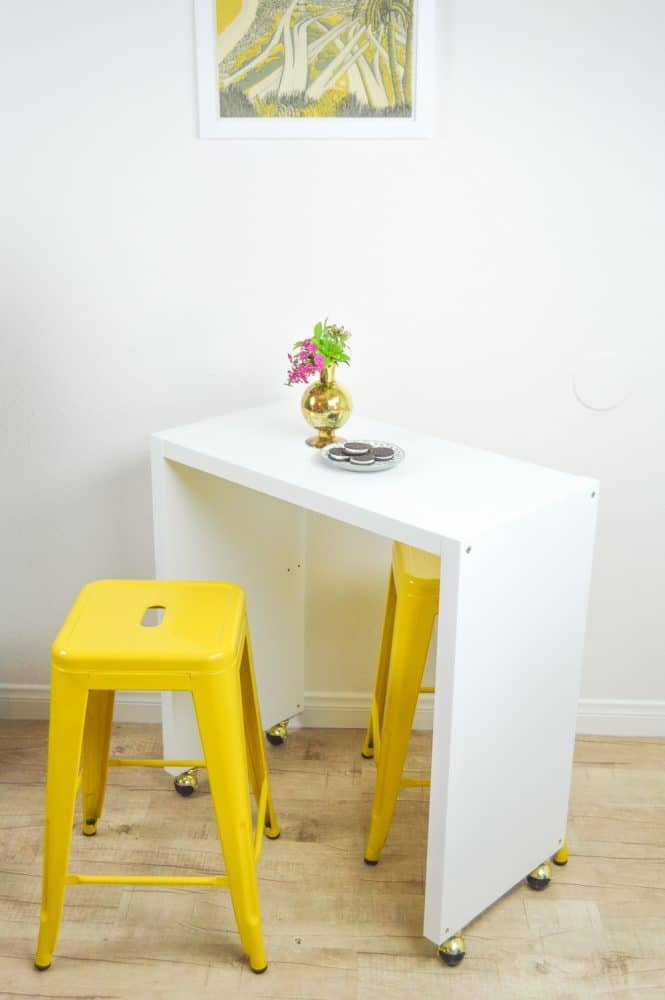 hacking a kallax shelve into a rolling countertop space is one the best IKEA kitchen hacks