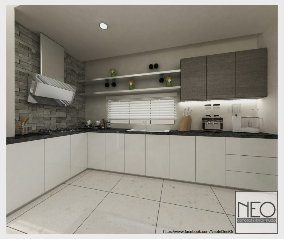 Kitchen concept with flush acrylic doors for this semi-d in Kajang. By Neo Concept