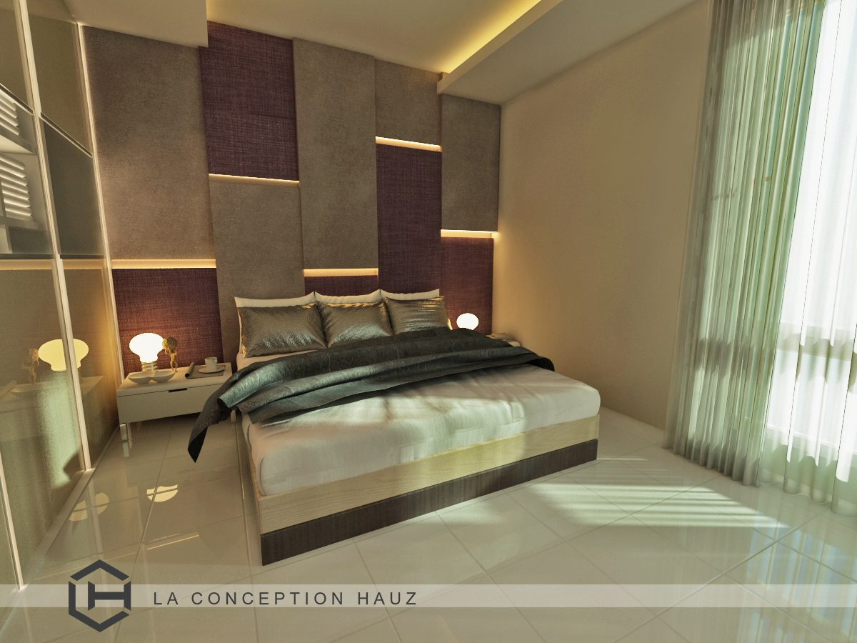 Layered wall panels with integrated lighting for this condominium in 288 Residency, Setapak