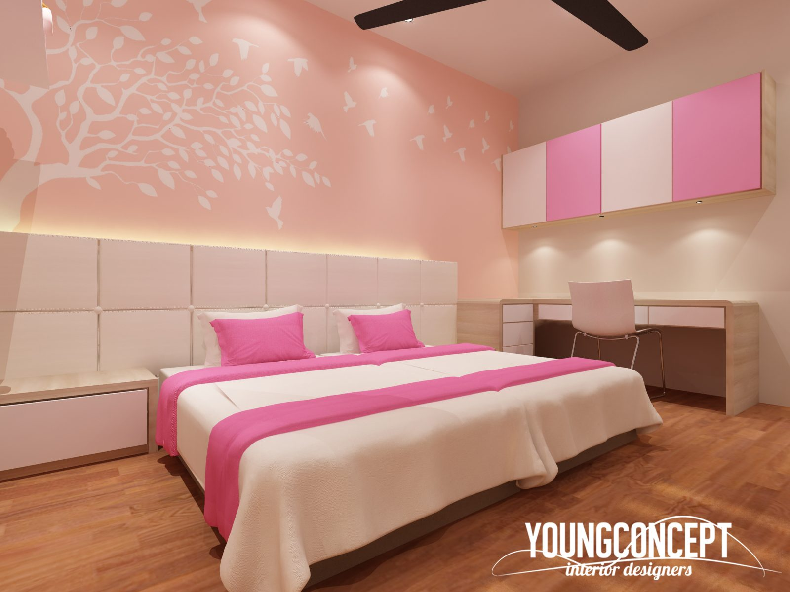 Marshmallow colour pallette Scandinavian bedroom in Shah Alam