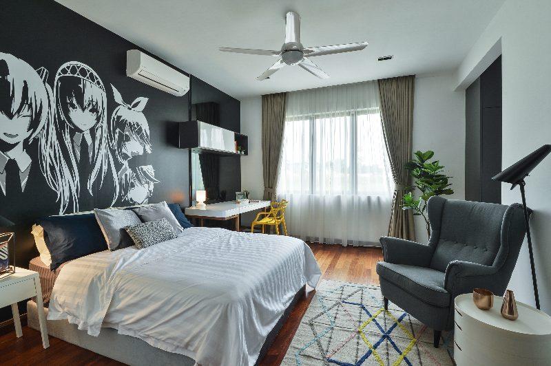 Anime wall art dominates this bedroom in Subang Bestari, Subang