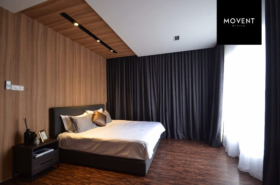 Seamless design from wall to ceiling creates an interesting bedroom feature wall. Source: Movent Design