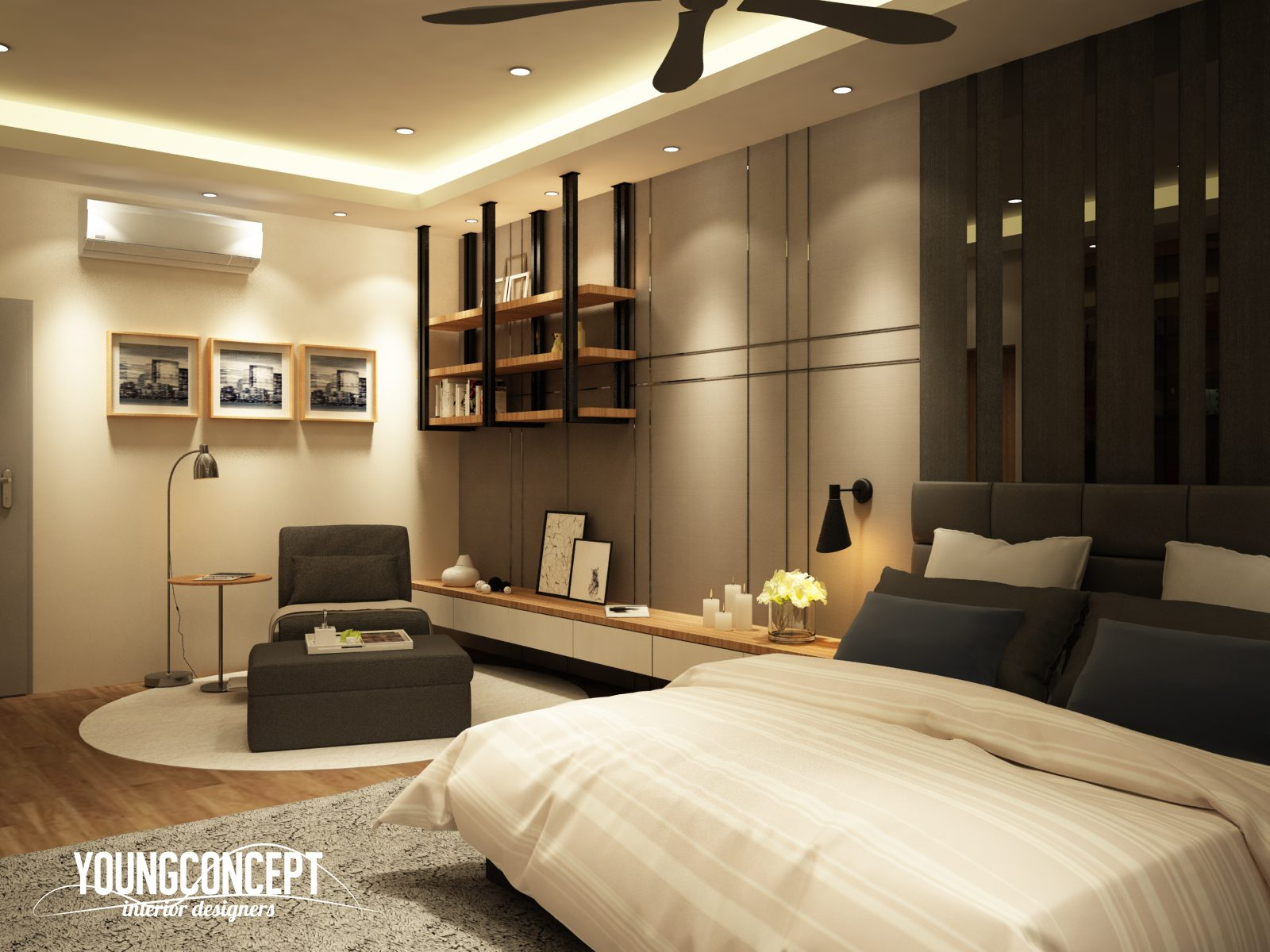 Bedroom with reading area and suspended shelving for this semi-detached house in Taman Segar, Cheras