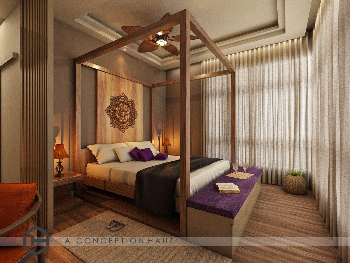 Four poster balinese-style bedroom in Damansara Foresta, Bandar Sri Damansara