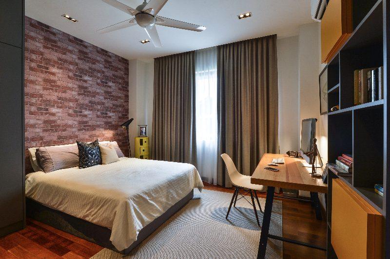 Exposed brick effect wallpaper for this bedroom in Subang Bestari, Subang