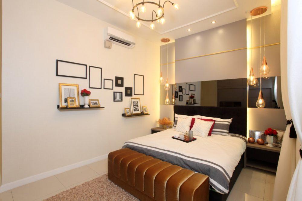 Black reflective mirror headboard for this condominium in Setia Eco Glades, Cyberjaya