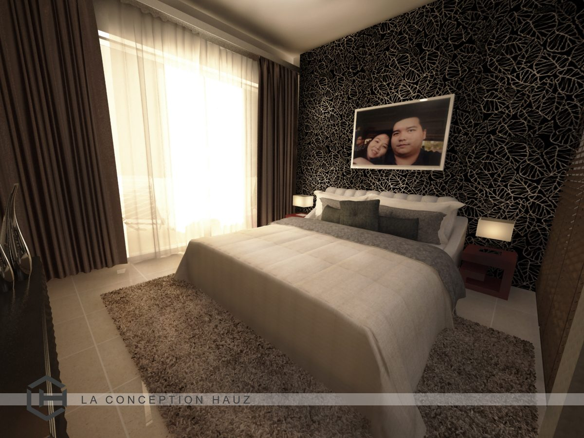 Dark brown tones and fossil leaf patterned feature wall for this condominium in Platinum Victory 16, Setapak