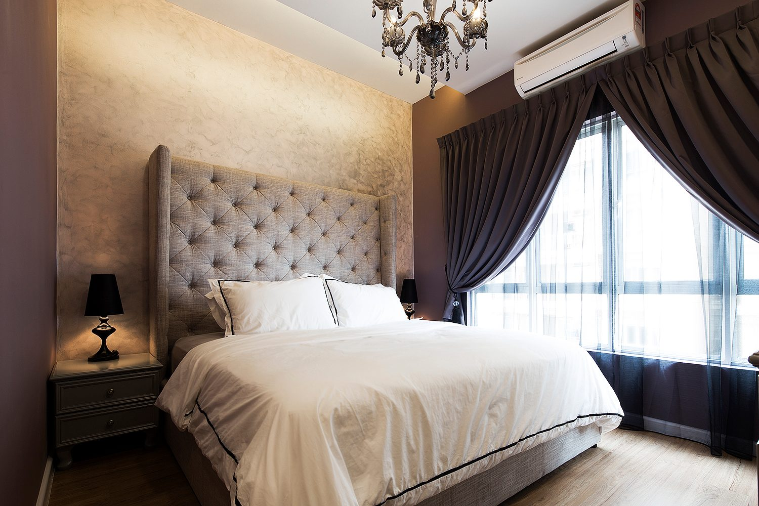 Tufted headboard with wingback effect for this bedroom in Mont Kiara