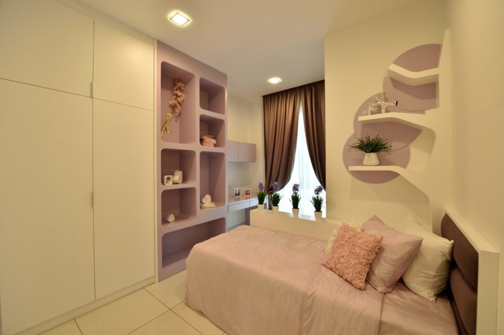 Lilac-themed teenager's small bedroom design in Serene Residence RT2, Rawang