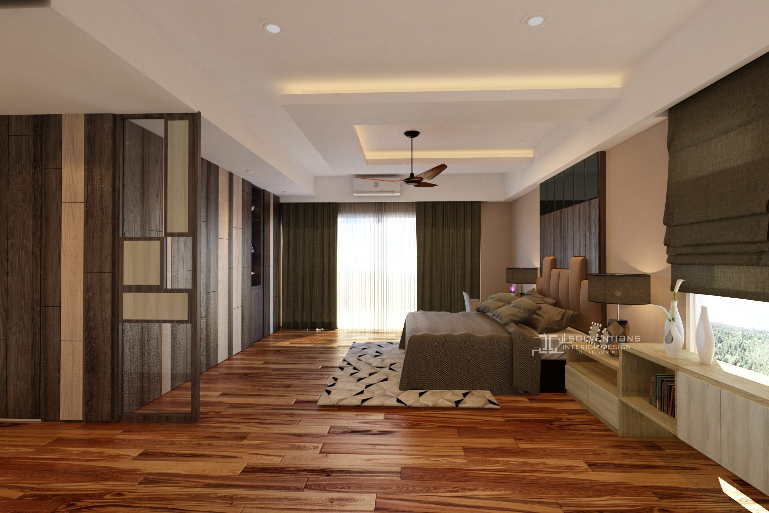 Mix of wooden tones for this large bedroom with floor to ceiling wardrobe and headboard
