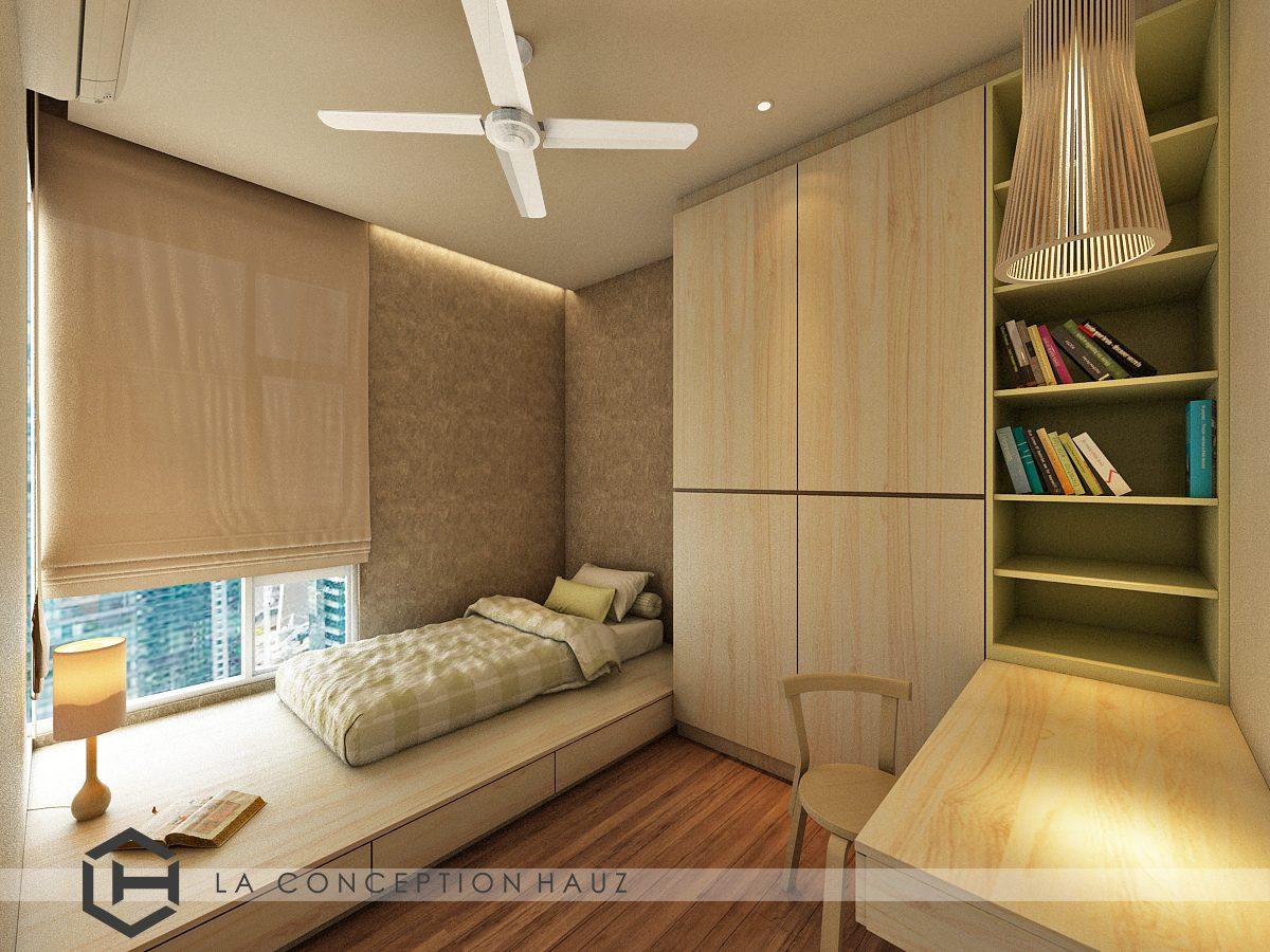 Single bay window platform bed with integrated storage and pelmet false ceiling for this condominium in Damansara Foresta, Bandar Sri Damansara