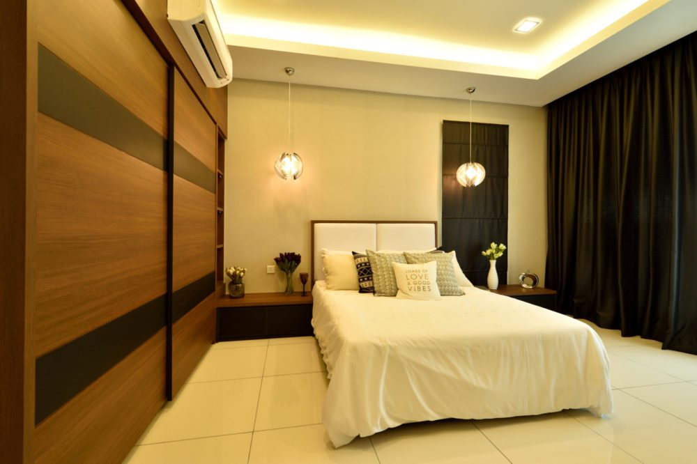 Combined Wardrobe And Bedside Table With Cove Ceiling Lights For This  Condominium In Serene Residence RT2