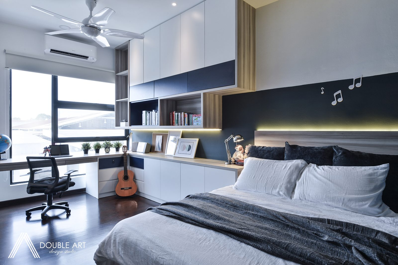 White and blue themed bedroom for young adult in Puchong, Selangor