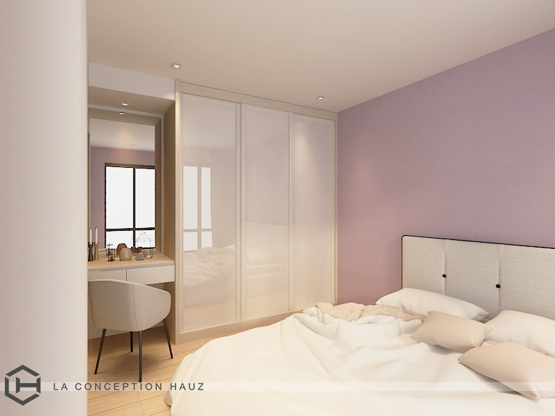 Scandinavian bedroom in lilac with built-in wardrobe and vanity for this condominium in Selayang 18