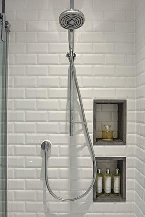 Recessed shower shelf that cleverly incorporates the subway tiles