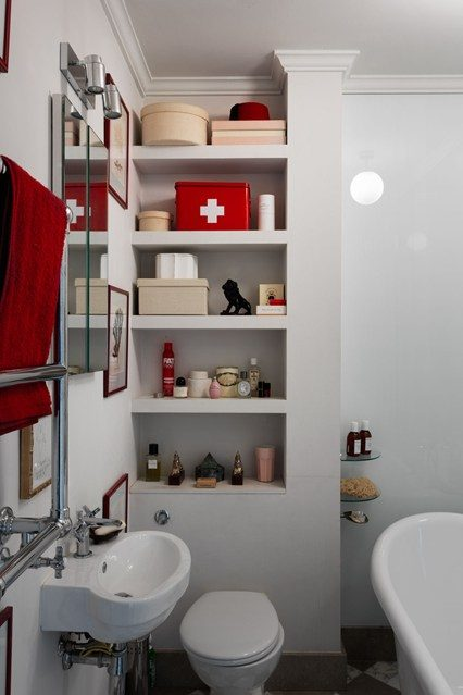 Seamless shelving built around the WC