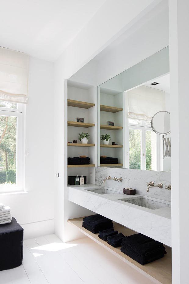 Suspended vanity with undershelf and matching wall shelves