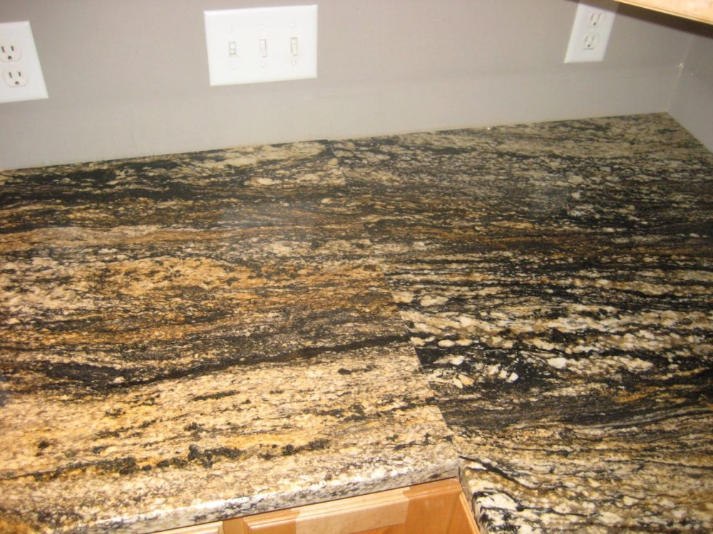 Example of seam in granite countertop