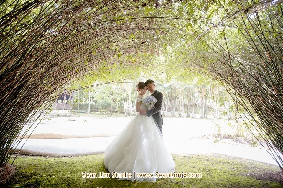 Prewedding photograph under a bamboo canopy in Malaysia by Sean Lim