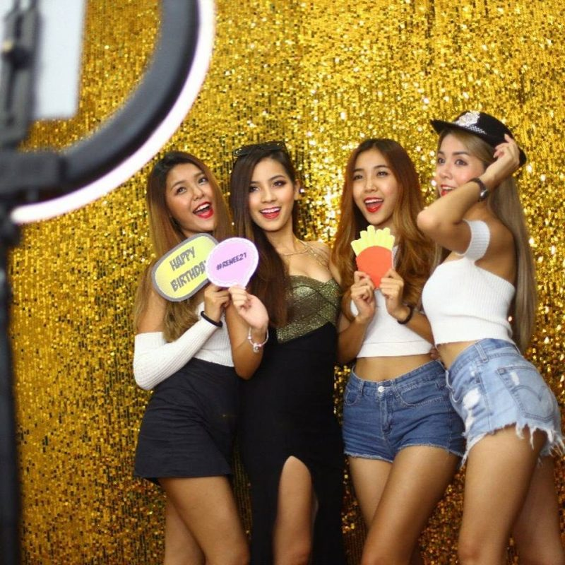 Simple dazzling gold tinsel backdrop by Pop The Box photobooth services in Malaysia