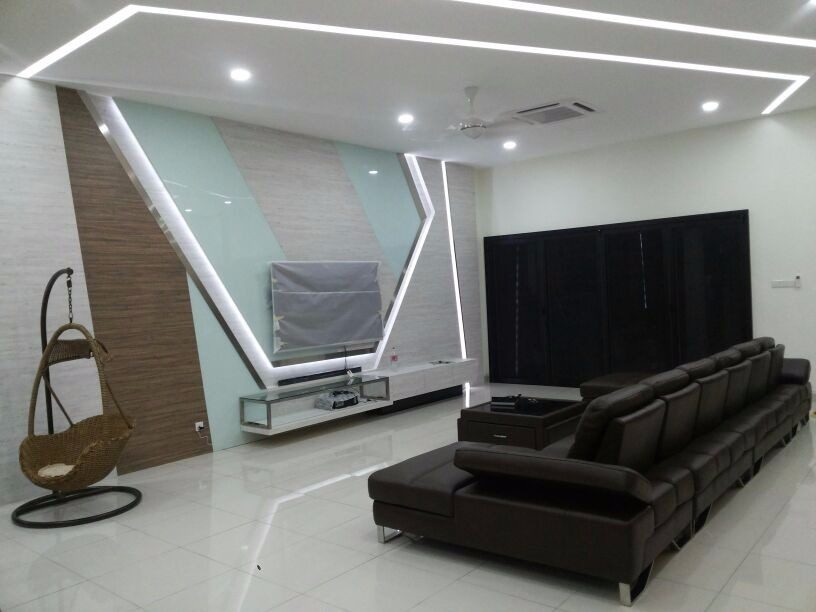 LED futuristic TV cabinet feature wall in Glenmarie
