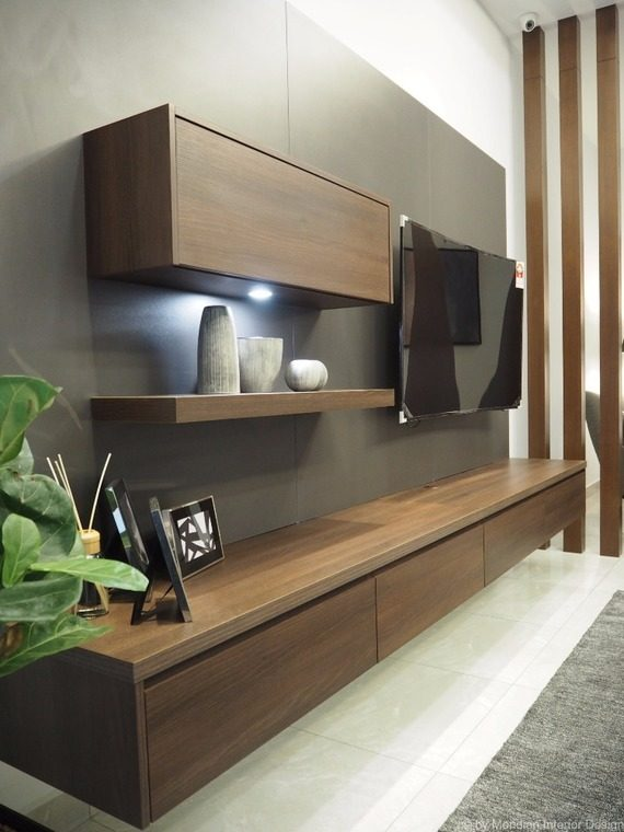 Suspended low TV cabinet designs with a single wall shelf by Meridien Inspiration