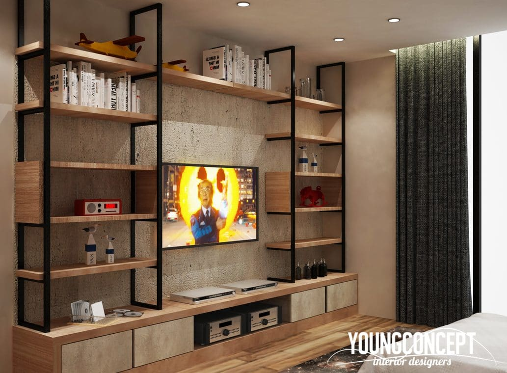 Industrial style TV cabinet designs with hanging rails by Young Concept