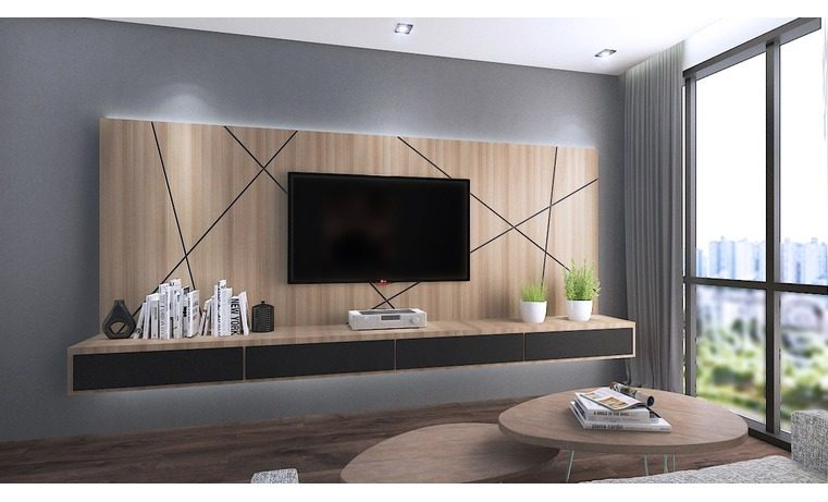 15 tv cabinet designs that will make your living room - Hanging tv on wall ideas ...