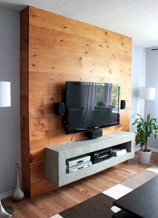 Concrete-toned TV cabinet designs with red oak feature wall