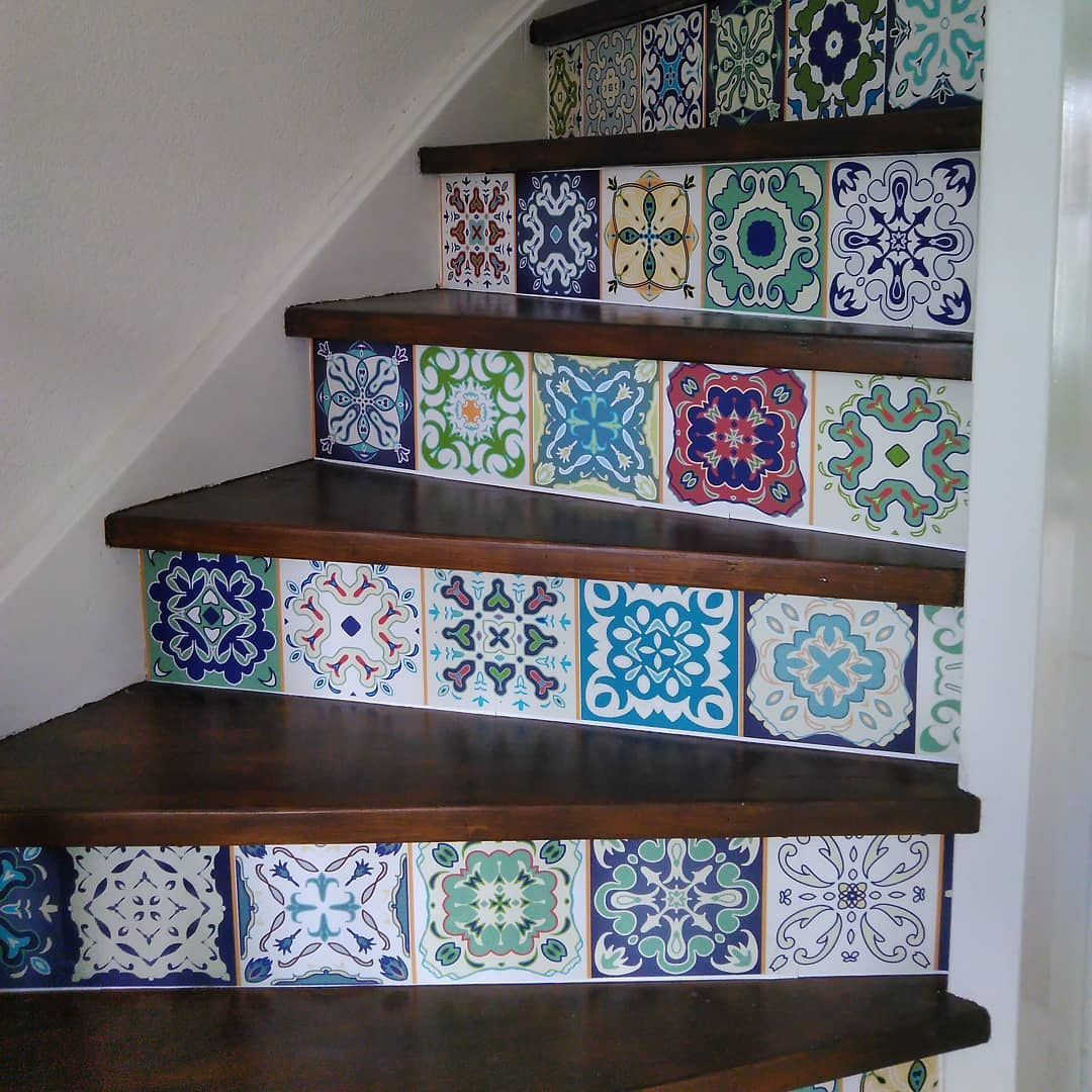 tile wallpaper stickers for stairs