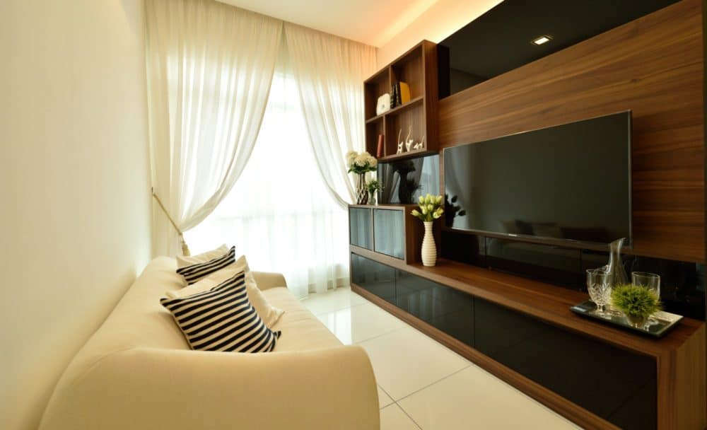 Black and walnut TV cabinet designs with feature wall in Serene Residence RT2, Rawang by Nice Style