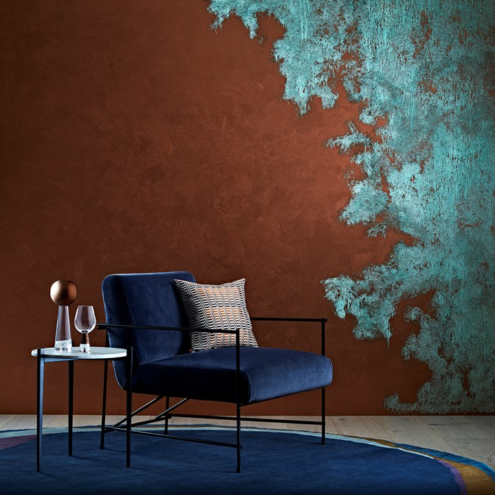 a copper-patina wall is one of the more interesting wall painting ideas