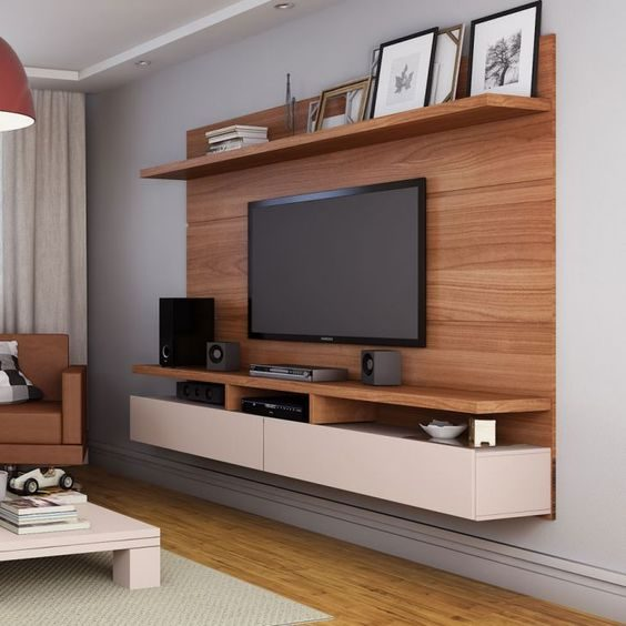 Suspended TV cabinet designs with high shelf for photo frames