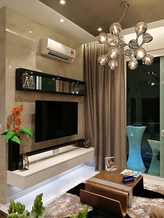 TV cabinet designs with under-cabinet lighting by The Arch