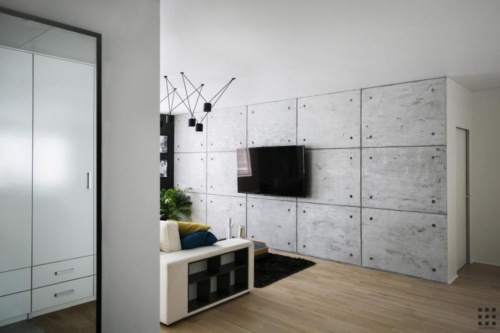 Apartment cement feature wall design