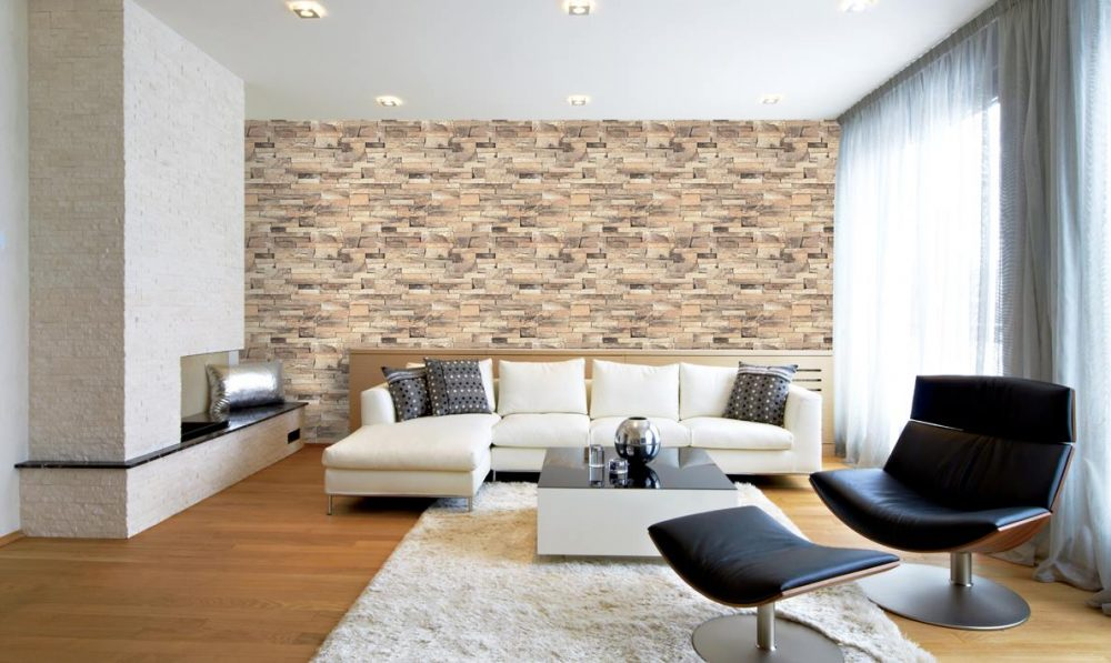 Living room wallpaper for feature wall. Source: Lamex