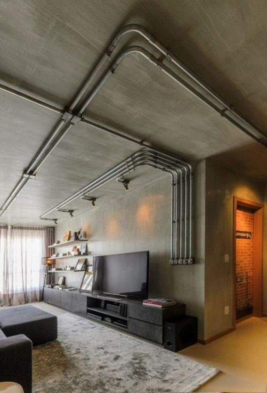 Brushed cement effect on feature wall and ceiling.