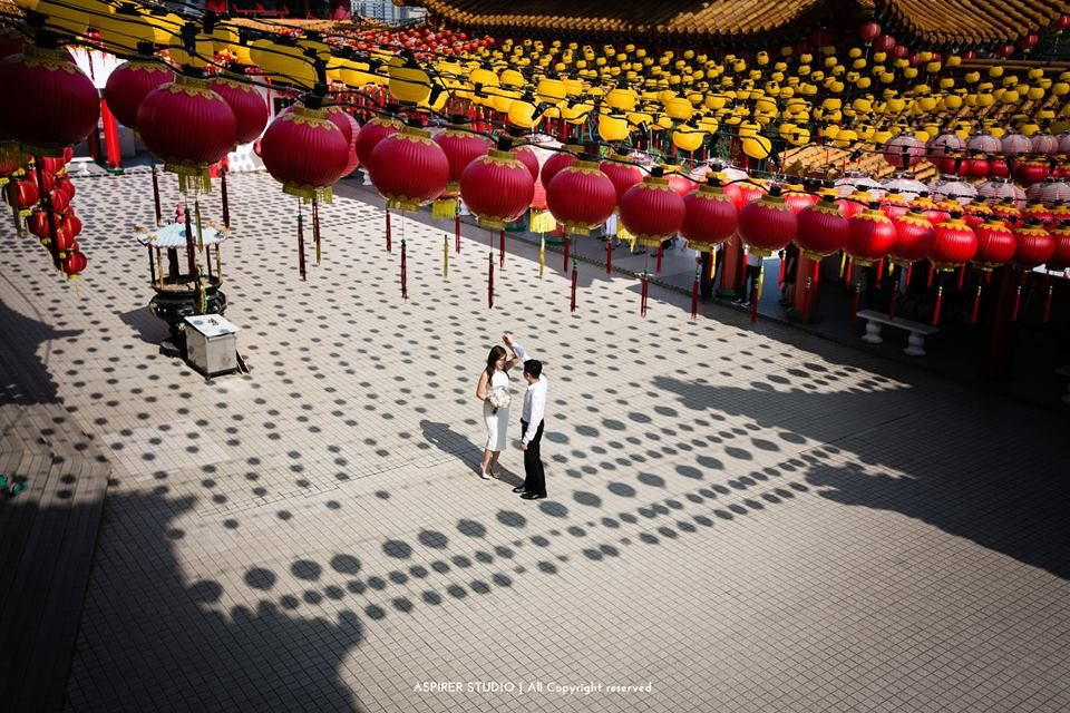 pre-wedding photos, thean hou temple