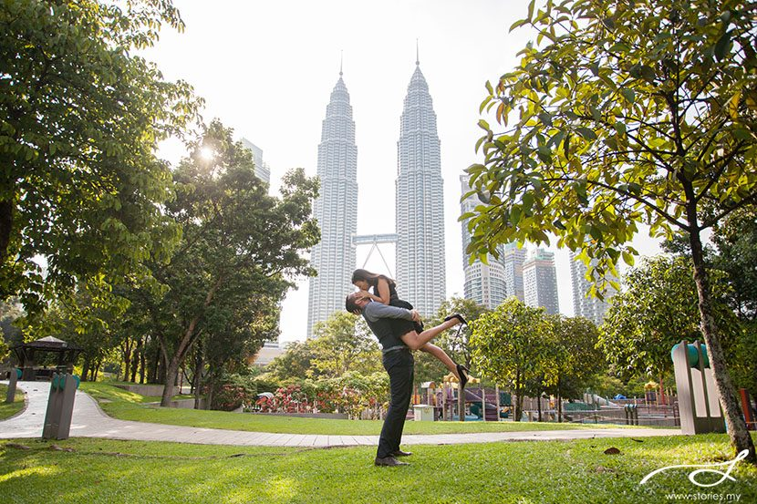 pre-wedding photos, klcc park