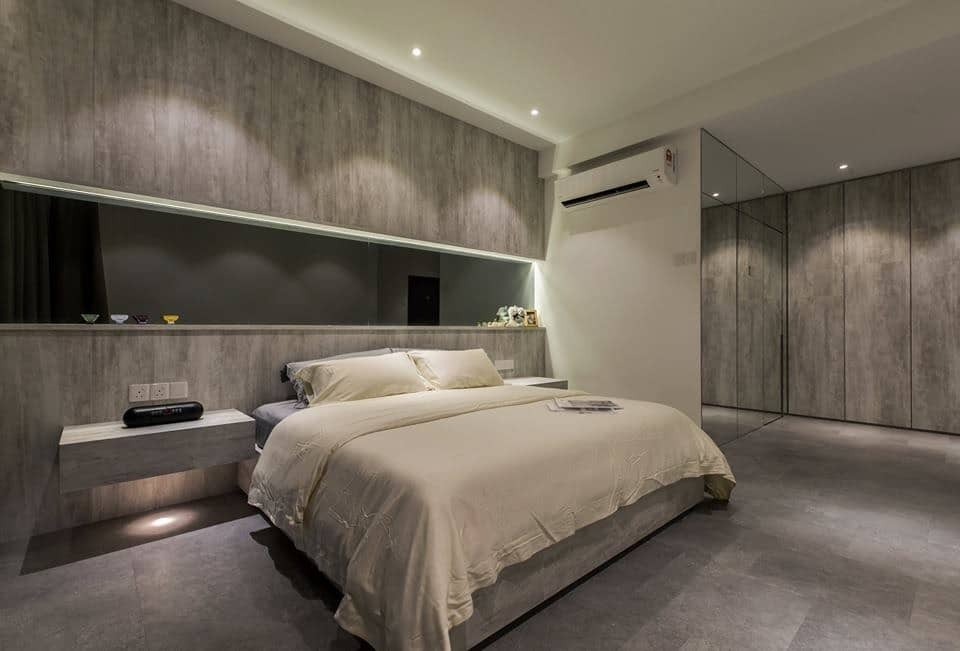 Laminate feature wall in Latitude Condominium, Penang. Source: Nevermore Design