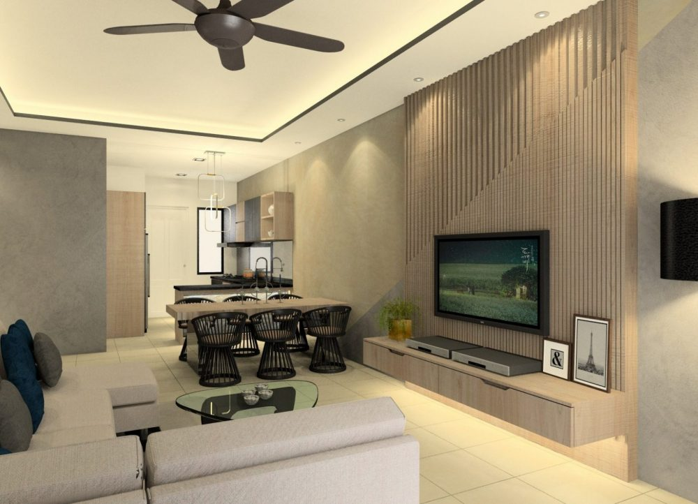 Interior design living room package. TV console feature wall and kitchen cabinets.
